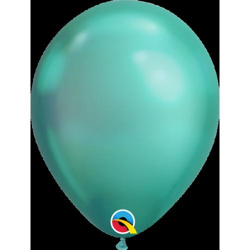 100 ballons chromés vert 17cm