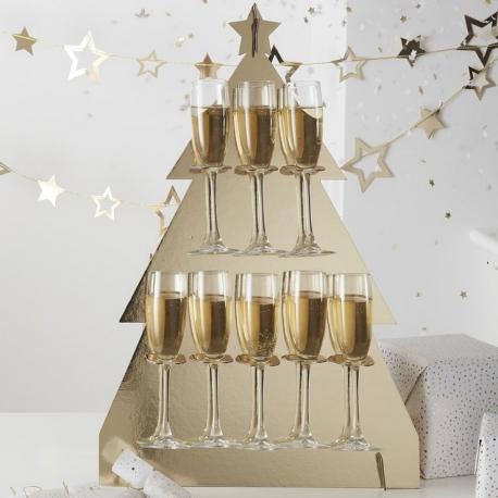 Stand à Flutes de Champagne Sapin Doré Brillant
