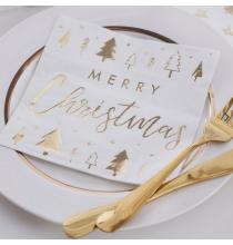"""Serviettes en papier premium  """"Merry Christmas"""" Noël Doré Brillant"""