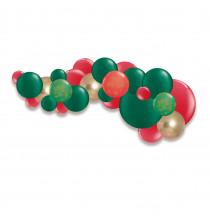 Guirlande de ballons organiques Noël Vert Rouge Doré