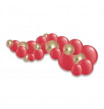 Guirlande de ballons organiques Noël Rouge Doré Chromé