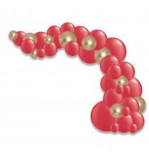 Arche de ballons organiques Noël Rouge Doré Chromé