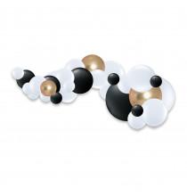 Guirlande de ballons organiques Noël - Noir Blanc et doré