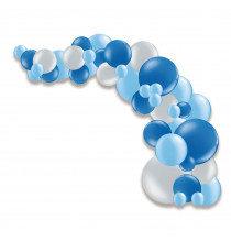Guirlande de ballons organiques Noël - Argent et bleu