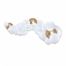 Guirlande de ballons organiques Noël Naturel - Blanc et blanc nacré