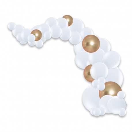 Arche de ballons organiques Noël Chic - Blanc et Doré Chromé