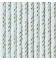 10 Pailles Rétro Rayées Bleu Poudré et Doré