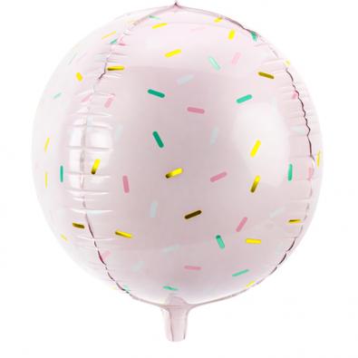 Grand Ballon Gourmandises Rose Pastel à Confettis
