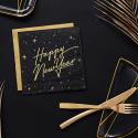 """Serviettes en papier """"Happy New Year"""" Nouvel An Noir et Doré"""