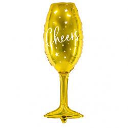 """Ballon Alu XL Coupe de Champagne """"Cheers"""" Nouvel An Doré Brillant"""
