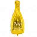 """Ballon Bouteille """"Happy New Year"""" Nouvel An Doré Brillant"""