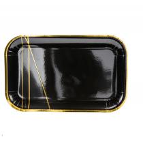 Assiettes Rectangulaires en Papier Noir et Doré de Fête