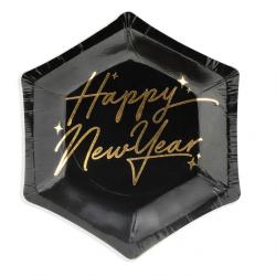 """Mini assiettes cocktail """"Happy New Year"""" Nouvel An Noir et Doré"""