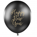 """Ballons Latex Noir et Doré """"Happy New Year"""" Nouvel An"""