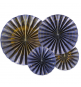 4 Grandes Rosaces Eventail Bleu Marine avec Dorures