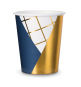 Gobelets Motifs Géométriques Bleu Marine avec Rayures Dorées