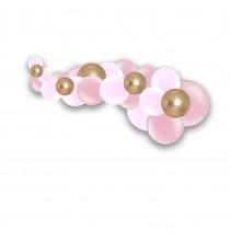 Guirlande de Ballons Organiques Rose et Doré Chromé