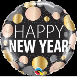 "Ballon Rond ""Happy New Year"" Nouvel An Noir Doré Rose Gold"
