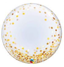 Ballon Bubble Pois Doré 61cm Transparent - Décoration de ballons