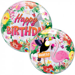Ballon Bubble Toucan Flamant Rose Flamingo & Tropiques