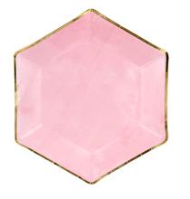 Petites Assiettes Rose Pastel Contours Dorés - Candy Party