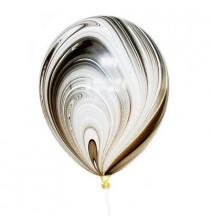 6 Ballons latex effet marbré noir et blanc - Décoration de fête