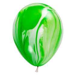 Ballons latex effet marbré vert - Décoration de fête