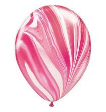 Ballons latex effet marbré rouge blanc - Décoration de fête