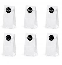 """6 Sachets Papier Blanc Cadeaux Invités """"Thank You"""""""