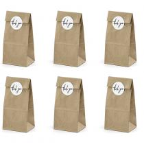 6 Sachets Papier Kraft - Cadeaux Invités Thank You