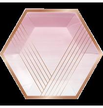 Grandes Assiettes Premium Rose pastel et Rose Gold / Rose Cuivré en Papier Premium