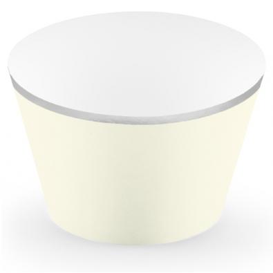 6 Contours à Cup Cakes Beige et Argent