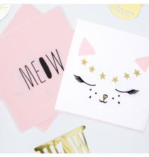 Serviettes 2 Designs Meow / Chat blanc et rose poudré - Chats Anniversaire