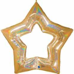 Maxi Ballon Etoile Doré holographique - Décoration