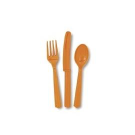 Couverts Plastiques Orange Vaisselle Jetable de Fête