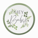 Grandes Assiettes Hey Baby - Thème Champêtre Baby Shower Eucalyptus