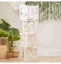Cubes Blanc BABY à garnir de ballons - Décoration Baby Shower Idée chambre de bébé