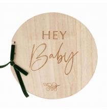 Livre d'or Hey Baby en Bois - Thème Champêtre Baby Shower Eucalyptus