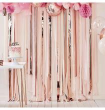 Rideau Backdrop Serpentin Papier Rose Pastel et Rose Gold - Décoration de Fête