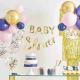 Grandes Assiettes Body - Baby Shower Gender Reveal Bleu Marine et Rose Poudré