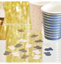 Confettis de Table Body - Baby Shower Gender Reveal Bleu Marine et Rose Poudré