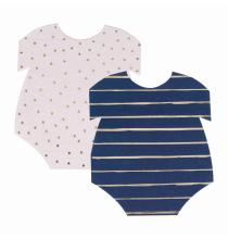 16 Serviettes en Forme de Body - Baby Shower Gender Reveal Bleu Marine et Rose Poudré