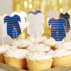 12 Piques Cup Cake Body - Baby Shower Gender Reveal Bleu Marine et Rose Poudré