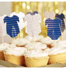 12 Piques Cup Cake Body - Baby Shower Gender Reveal Bleu Marine et Rose Poudré