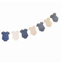 Banderole Fanions Body Baby Shower - Baby Shower Gender Reveal Bleu Marine et Rose Poudré