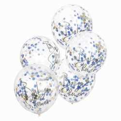 Ballons Confettis Baby Shower Bleu Marine et Rose Poudré