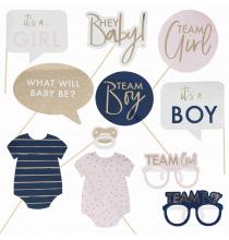10 Accessoires Photobooth Baby Shower Gender Reveal Bleu Marine et Rose Poudré