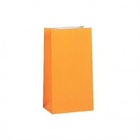 12 Sachets Papier Glaçé Orange Cadeaux aux Invités