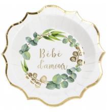 Grandes Assiettes Bébé d'Amour - Thème Champêtre Baby Shower Vert et Doré