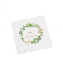 Grandes Serviettes Bébé d'Amour - Thème Champêtre Baby Shower Vert et Doré